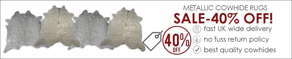 Metallic Cowhide Rug Sale