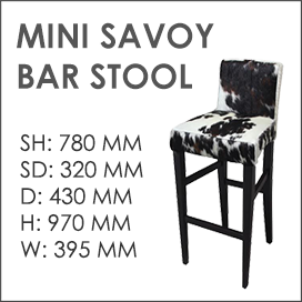 Mini Savoy Cowhide Bar Stool