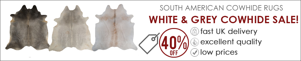 White & Grey Cowhide Rug Sale